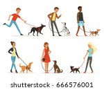 Stock vector animal friendship happy people walking with funny dogs illustrations in cartoon style 666576001