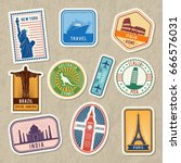 travel stickers set with... | Shutterstock .eps vector #666576031
