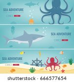 sea icons and symbols set. sea... | Shutterstock .eps vector #666577654