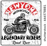 vintage motorcycle t shirt... | Shutterstock .eps vector #666578881