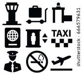 airport vector icon set | Shutterstock .eps vector #666579631
