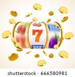golden slot machine with flying ... | Shutterstock .eps vector #666580981