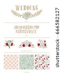 set of fun and cute vector... | Shutterstock .eps vector #666582127
