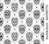 halloween seamless pattern ... | Shutterstock .eps vector #666585751