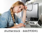 stressed tired woman working at ... | Shutterstock . vector #666593041