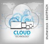 cloud technology abstract... | Shutterstock .eps vector #666595624
