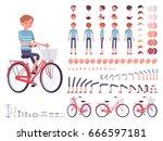 young man cycling city bike ... | Shutterstock .eps vector #666597181