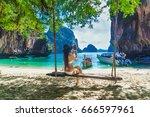 hipster asian woman in bikini... | Shutterstock . vector #666597961