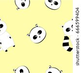 raccoon pattern yellow... | Shutterstock .eps vector #666599404