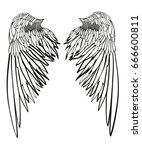 wings. vector illustration on...   Shutterstock .eps vector #666600811