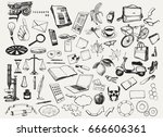 big set of hand drawn ink... | Shutterstock .eps vector #666606361