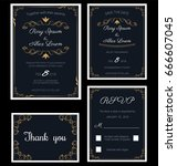 wedding invitation   save the... | Shutterstock .eps vector #666607045