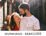 portrait of a happy couple of... | Shutterstock . vector #666611305