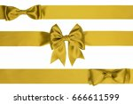 three gift golden bows on a... | Shutterstock . vector #666611599