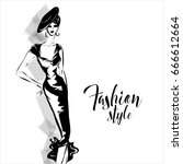 black and white retro fashion... | Shutterstock .eps vector #666612664