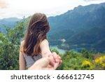 follow me  attractive brunette...   Shutterstock . vector #666612745