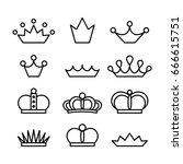 crown set. vector line art... | Shutterstock .eps vector #666615751