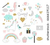 magic design set with unicorn ... | Shutterstock .eps vector #666619117