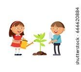 happy boys and girls doing...   Shutterstock .eps vector #666620884