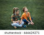 tired brother and sister with...   Shutterstock . vector #666624271