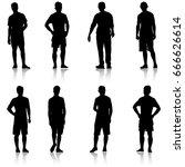 set black silhouette man... | Shutterstock . vector #666626614