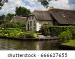 Typical Dutch House With Straw...