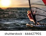 girl on windsurfing  fun in the ... | Shutterstock . vector #666627901