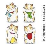 maneki neko japan cat doll set. ... | Shutterstock .eps vector #666631261