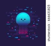 cute cartoon jellyfish... | Shutterstock .eps vector #666631825