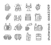 set of beer related vector line ... | Shutterstock .eps vector #666631909