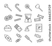 set of candy related vector...
