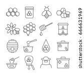 Set Of Honey Related Vector...