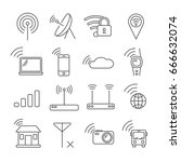 set of wi fi related vector... | Shutterstock .eps vector #666632074