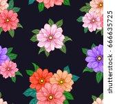 vector flowers  seamless...   Shutterstock .eps vector #666635725