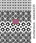 collection tribal seamless... | Shutterstock .eps vector #666636235