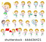 set of various poses of blond... | Shutterstock .eps vector #666636421
