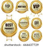 premium labels with golden... | Shutterstock . vector #666637729