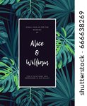 dark tropical wedding design... | Shutterstock .eps vector #666638269