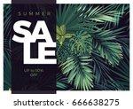 dark vector tropical typography ... | Shutterstock .eps vector #666638275