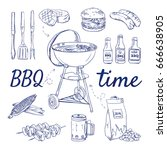 doodle set of bbq   grill ...   Shutterstock .eps vector #666638905