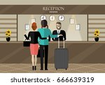 hotel reception. young woman... | Shutterstock .eps vector #666639319