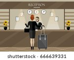 hotel reception. young man...   Shutterstock .eps vector #666639331