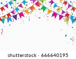 colorful flags with confetti... | Shutterstock .eps vector #666640195