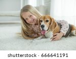 children with a dog | Shutterstock . vector #666641191