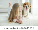 children with a dog | Shutterstock . vector #666641215