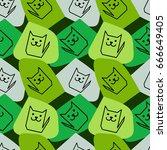 funny geometrical seamless... | Shutterstock .eps vector #666649405