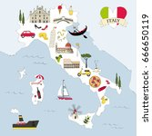 italy travel map | Shutterstock .eps vector #666650119
