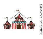 circus tent tops stripes flag... | Shutterstock .eps vector #666653359