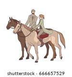 couple horseback riding. lovers ...   Shutterstock .eps vector #666657529