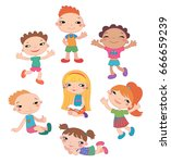 collection of happy kids... | Shutterstock .eps vector #666659239